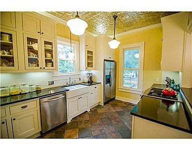 soapstone counter tops, tin ceiling tile, slate floor | Home things on countertops with tile, countertops with granite, countertops with maple cabinets, countertops with breakfast bar, countertops with hickory cabinets, countertops with linoleum,