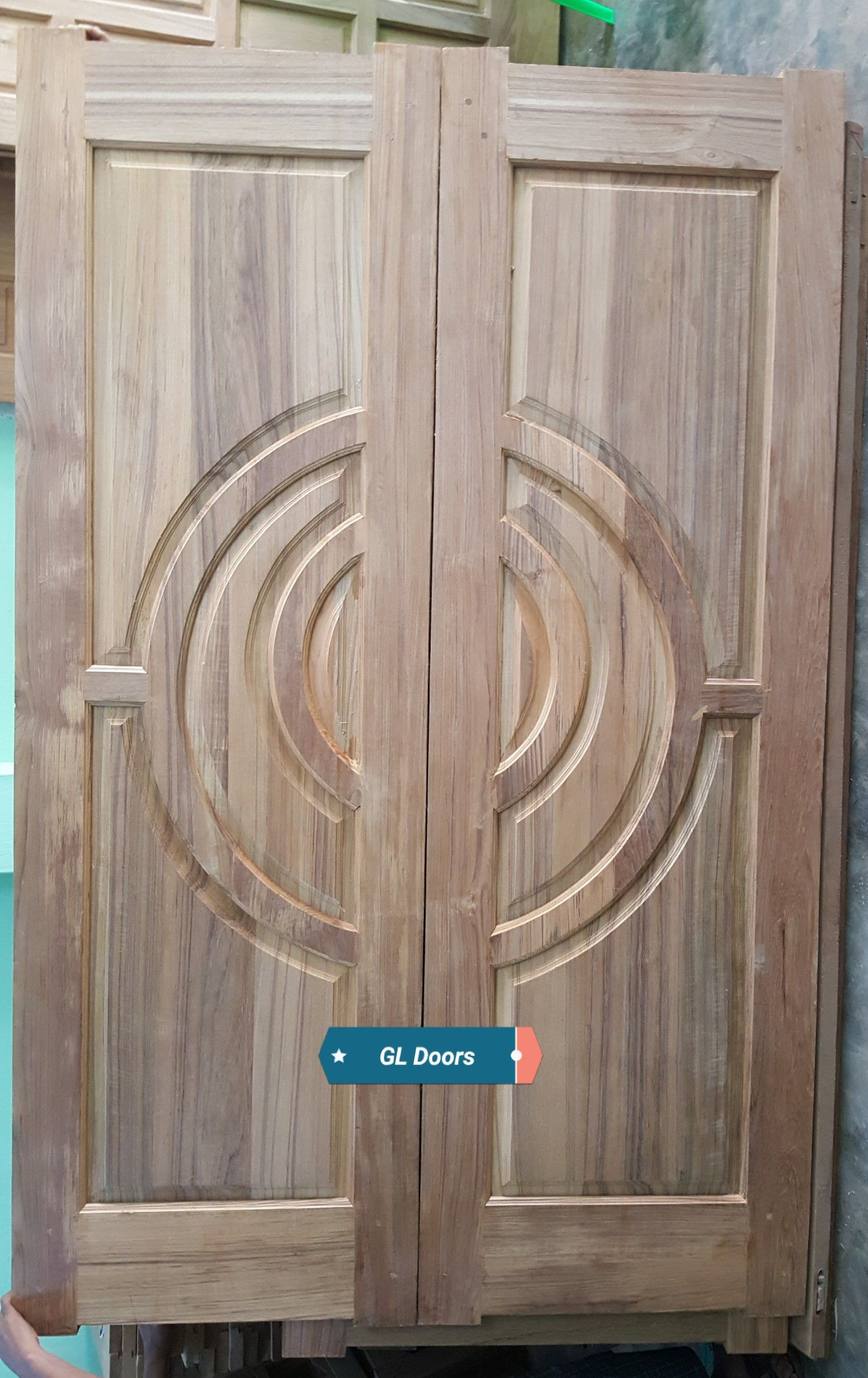 Double Circle Doors Made Up Of Teak Door Design Photo Wall