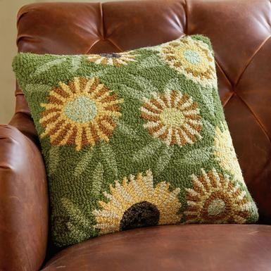 sunflower hooked pillow—designed by Vermont artist Laura Megroz