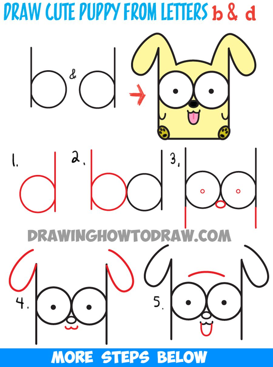How To Draw Cartoon Baby Dog Or Puppy From Letters Easy Step By Step Drawing €�