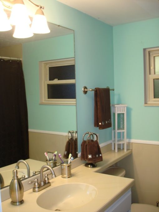 Could Do This For Boy S Bathroom Easily With White Trim And Vanity Is Blue Brown Too Done