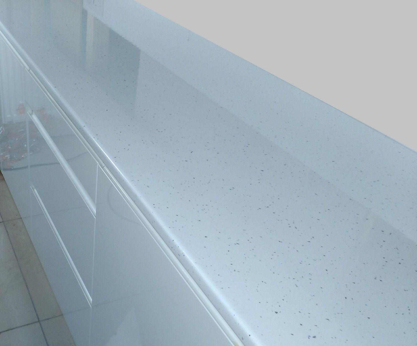 White Sparkle Gloss Laminate Kitchen Bathroom Office Worktop 28mm ...