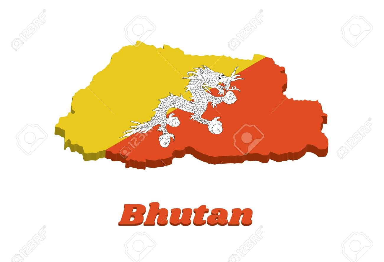 3d Map Outline And Flag Of Bhutan Triangle Yellow And Orange With A White Dragon Holding Four Jewels In Its Claws Centered W Map Outline Abstract Design Map