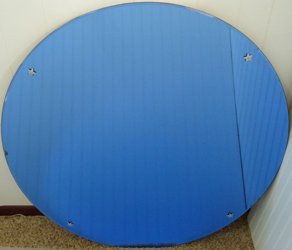 Vintage art deco large cobalt blue glass mirror round wall hanging