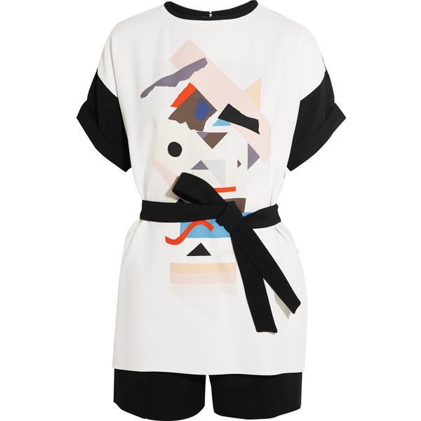 Victoria, Victoria Beckham Layered printed crepe playsuit (€380) ❤ liked on Polyvore featuring jumpsuits, rompers, shorts, white, colorful rompers, playsuit romper, white rompers, colorful romper and white romper