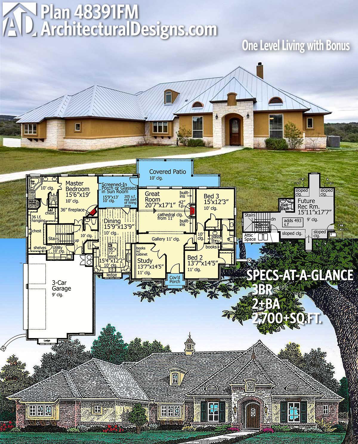 Plan 48391fm One Level Living With Bonus Fantasy House Old Abandoned Houses Dream House Plans