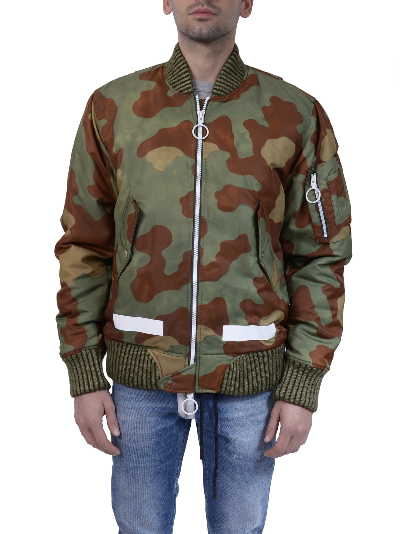 Offwhite Diag Camouflage Bomber Jacket In Green