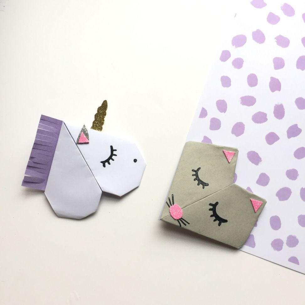 diy les jolis marques page animaux en origami crafts. Black Bedroom Furniture Sets. Home Design Ideas