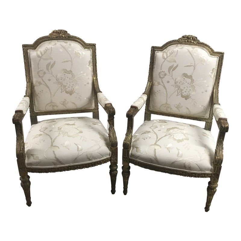 Gilt French Floral Upholstered Arm Chairs A Pair Upholstered