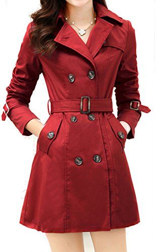 a09c68fc43fcb Galsang Womens Double Breasted Belted Trench Coat  B41 (Petite 10