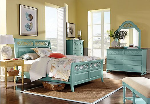 For A Cindy Crawford Home Seaside Blue Green Sleigh 5 Pc Queen Bedroom At Rooms To Go Find Sets That Will Look Great In Your And