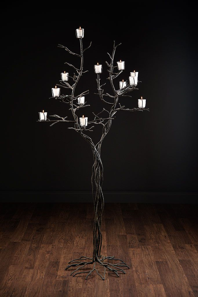 Westport Candle Tree Floor Lamp with 12 Glass Candle Votives Hand ...