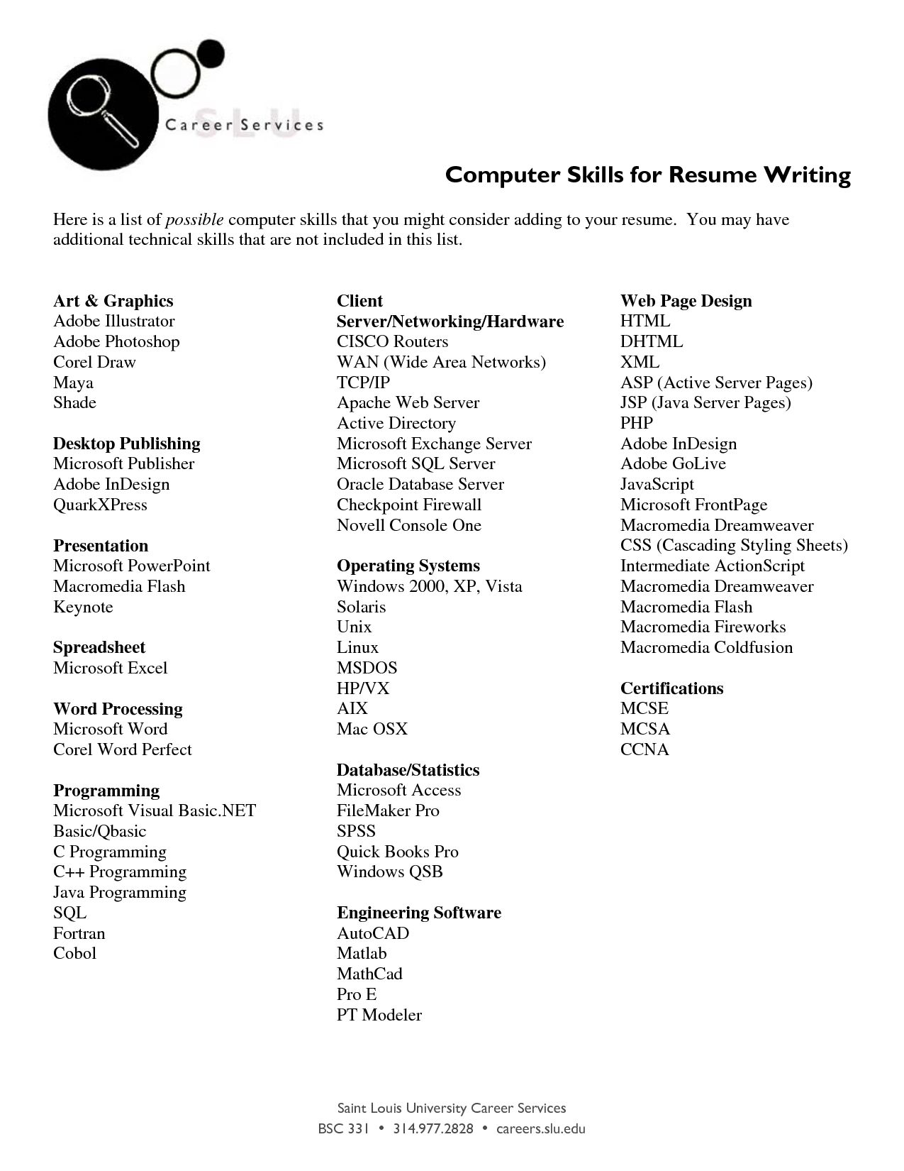 sample resume technical skills list