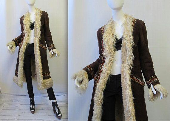 Shearling turque de 1960 Vintage brodé manteau | Daim Boho Hippie