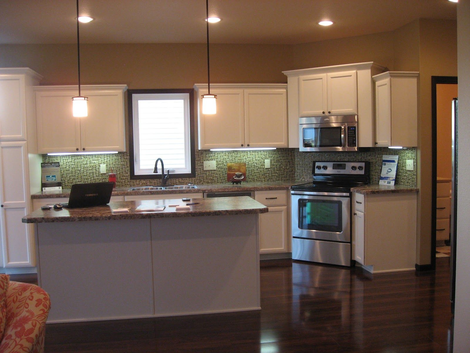 One Wall Kitchen With Island With Stove In The Corner House