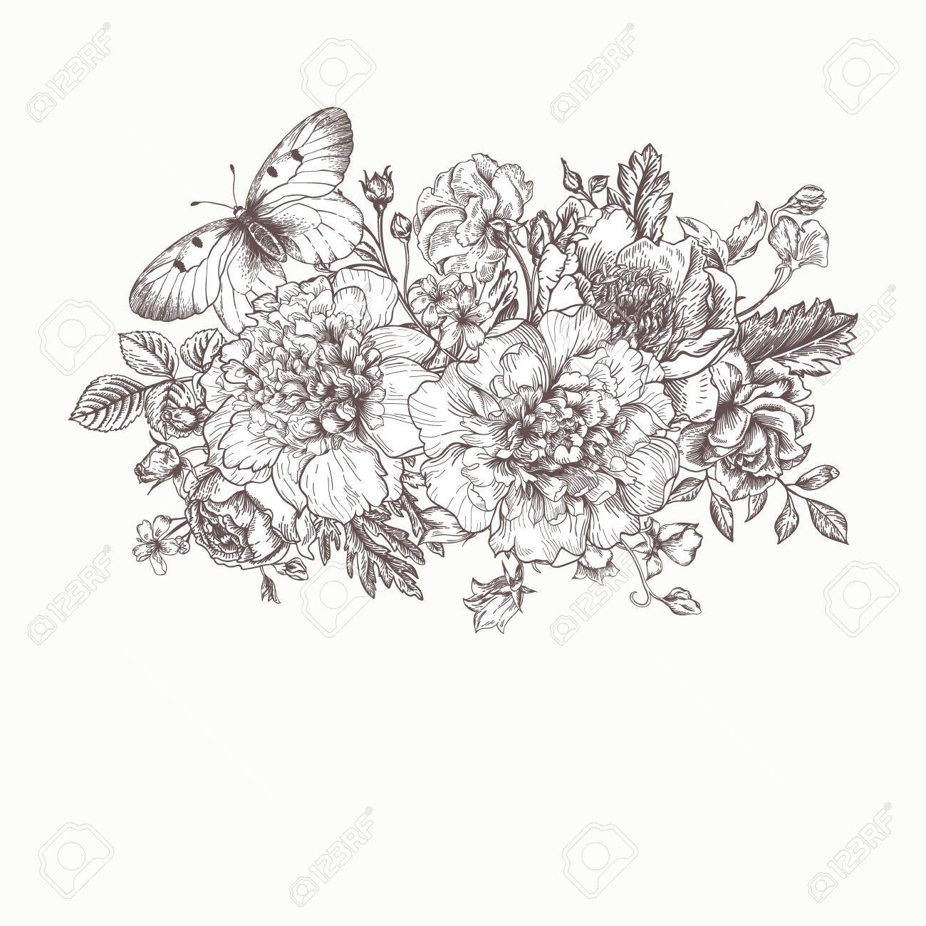 Floral background carte avec un bouquet de fleurs et un papillon