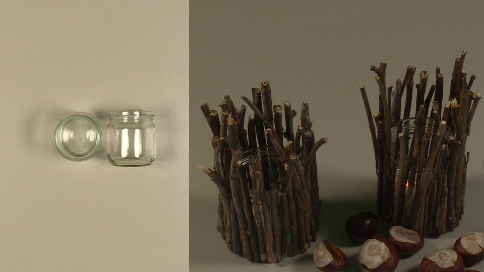 Haal de herfst in huis versier je lege glazen potjes met takjes