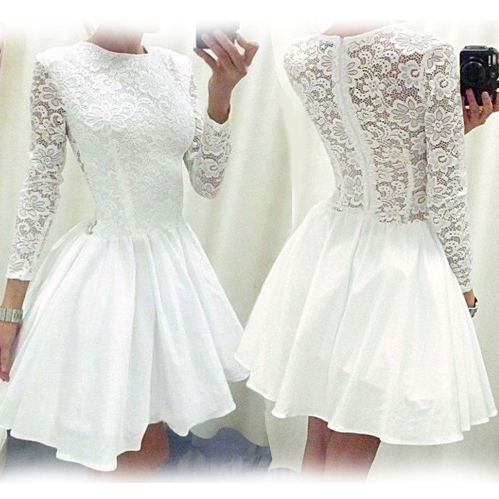 cea885237b3a New Ladies Vintage Lace Long Sleeve Evening Formal Cocktail Party Mini Dress  Top | eBay