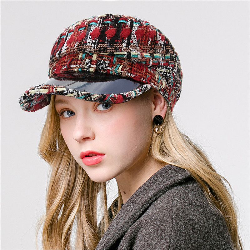 07b001b7446 Women Fashion Berets Fall Winter Warm Knitted Newsboy Hat Girls Colorful  Plaid Beret Cap Casual Military