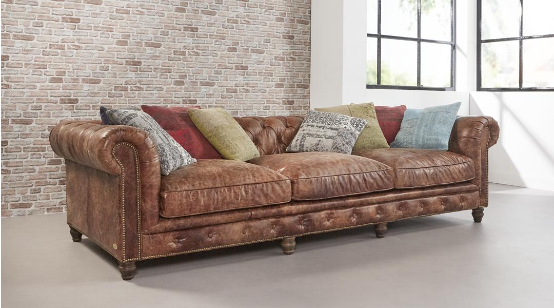 Eigentijdse lounge bank june gemaakt van rundleder bekijk