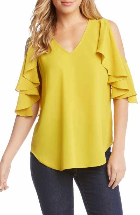 c0f6547abdf06 Karen Kane Ruffle Cold Shoulder Top
