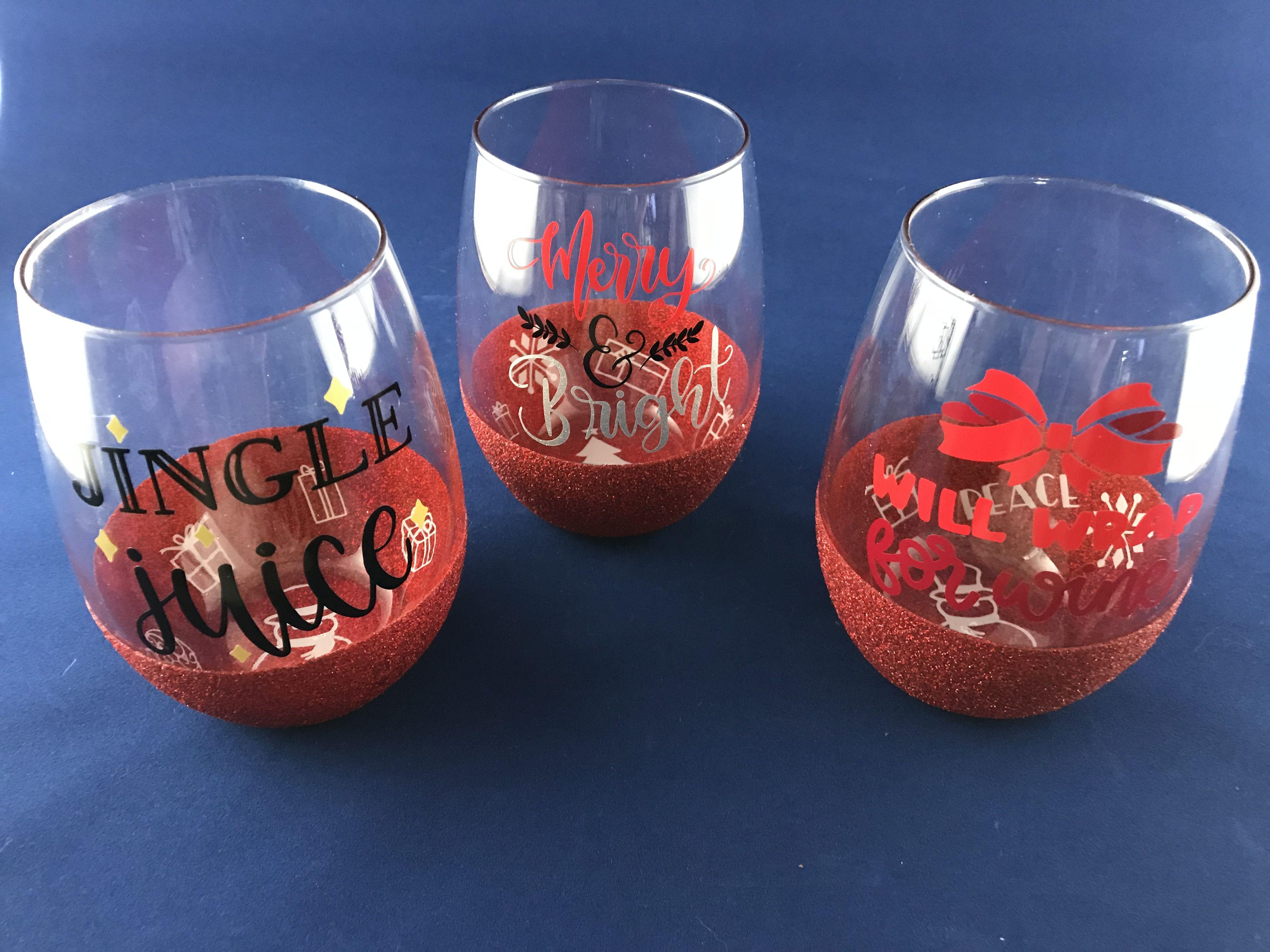 Christmas Wine Tumblers Birthday Wine Glass Custom Wine Glass Christmas Wine