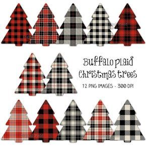 Buffalo plaid Christmas tree clip art set red by ...