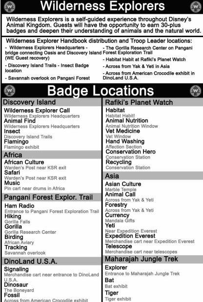 wilderness explorers handbook distribution and badge locations