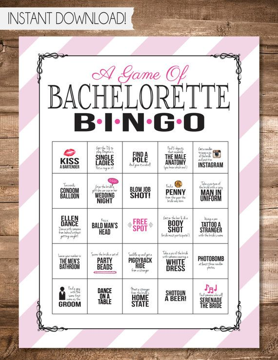 Bachelorette Party Printable Bingo Looking For A Fun