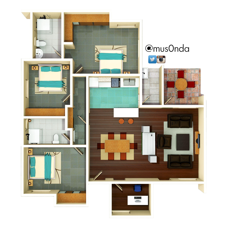 3 bedroom House Floor Plan thezambianarchitect.wordpress.com ... on