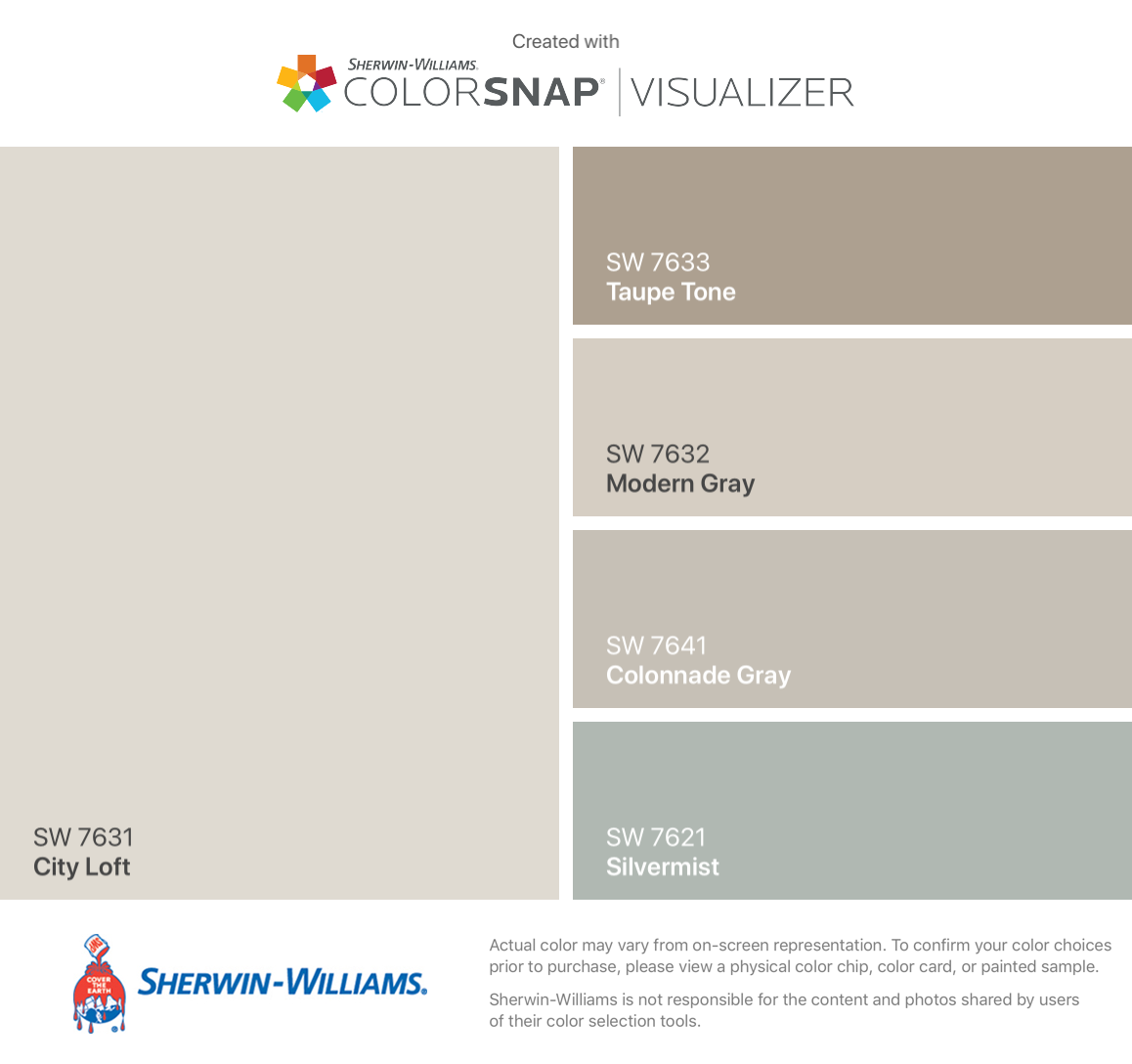 I found these colors with ColorSnap® Visualizer for iPhone by Sherwin-Williams: City Loft (SW 7631), Taupe Tone (SW 7633), Modern Gray (SW 7632), Colonnade Gray (SW 7641), Silvermist (SW 7621). #cityloftsherwinwilliams