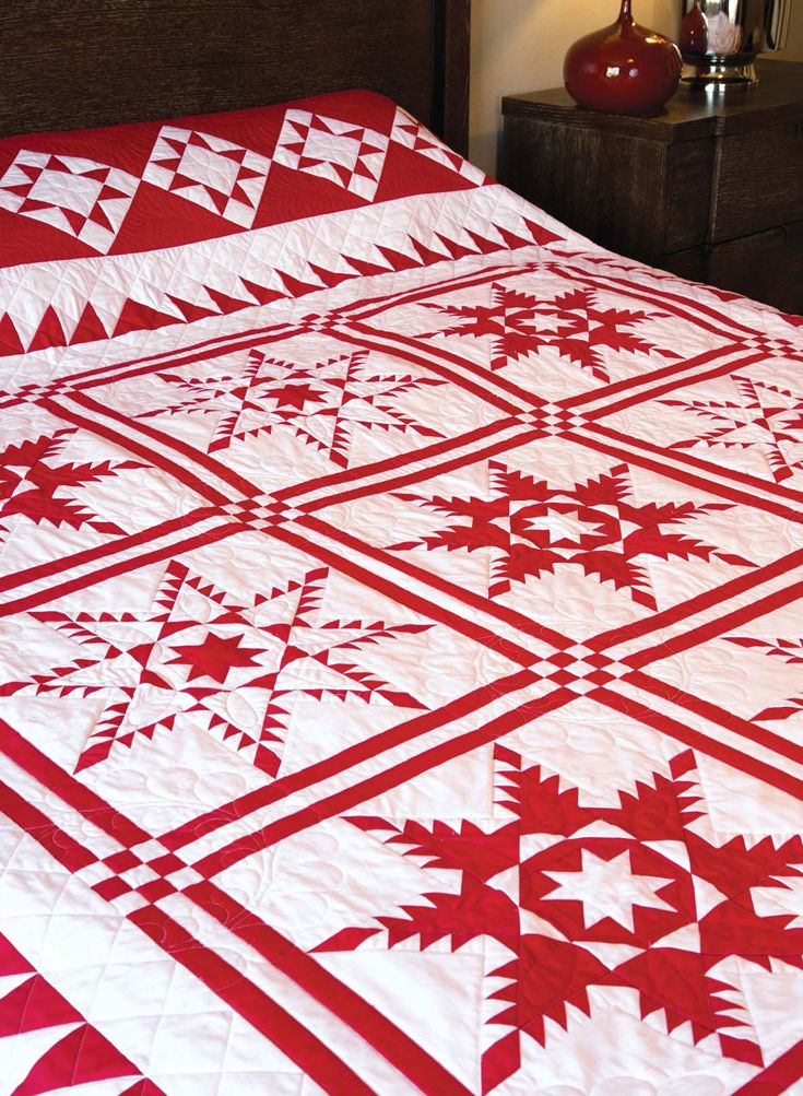 Scarlet Sparkle Quilt Pattern The Traditional Feathered Star Block