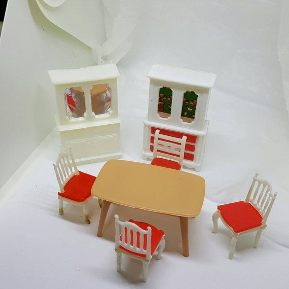 Dining Room Table Chairs China Hutch Dollhouse Hard Plastic Hong Kong Diorama Miniatures
