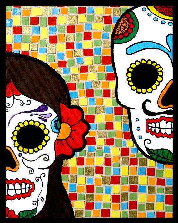 Amor Sugar Skulls Mosaic. I would love to hang a piece of artwork like this in my house. Sugar Skulls + Mosaic = beautiful