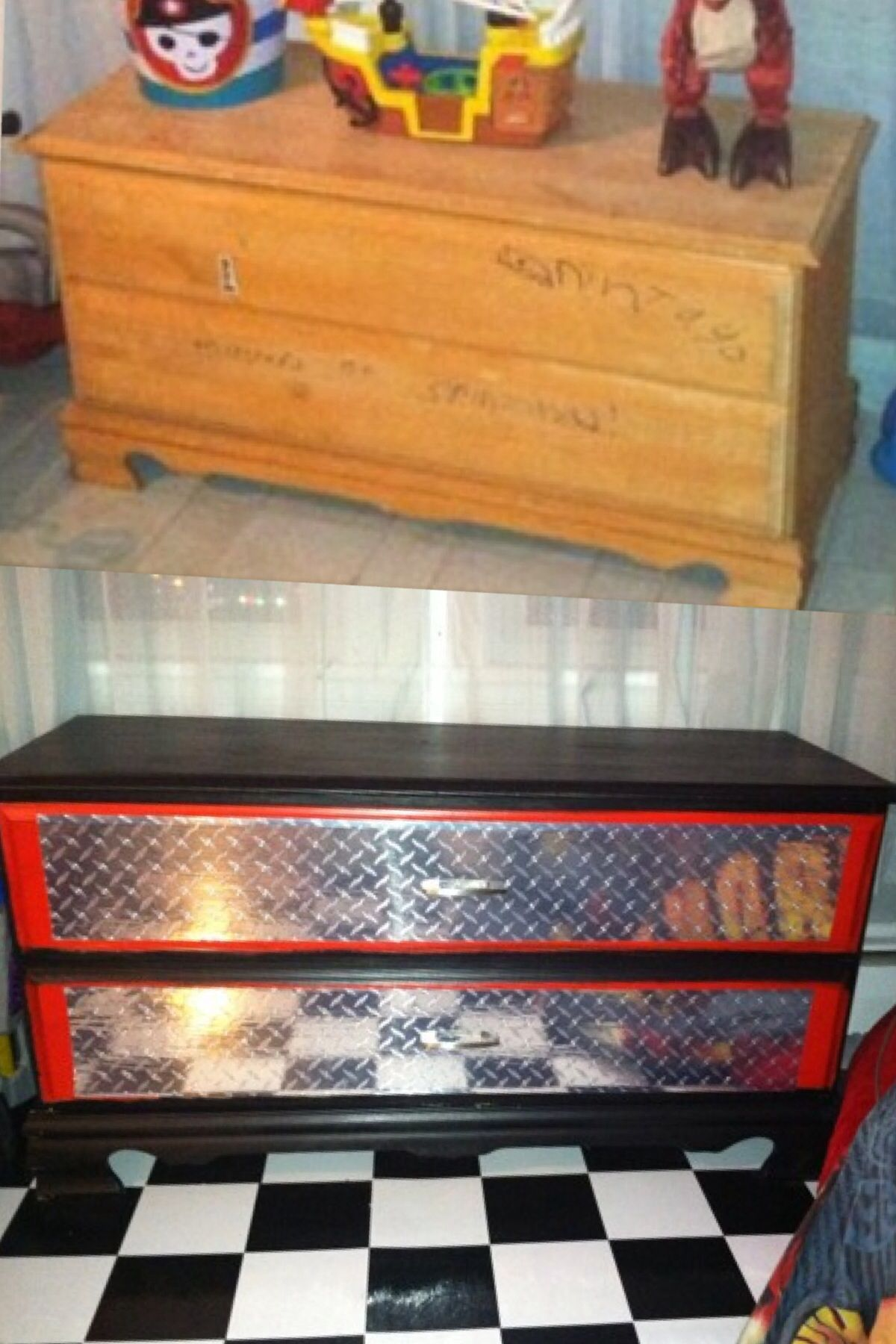 Old Toy Box Transformed Into A Snap On Tool Box Toy Box Baby Boy Rooms Girl Toy Storage Boy Nursery Cars