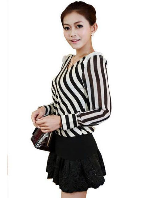 Vogue Long Puff Sleeve V Neck Chiffon Striped T Shirt