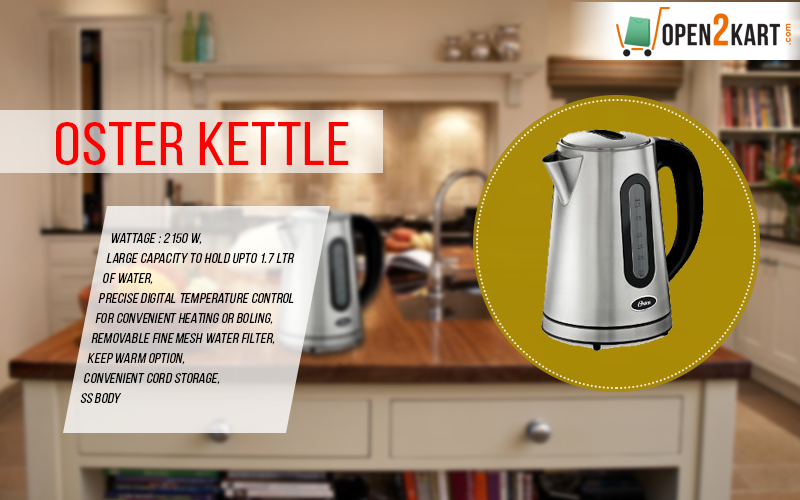 Make your kitchen life more easier with Oster Kettle, precise digital temperature control, get best deal. Shop online on http://open2kart.com