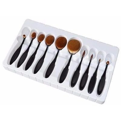 31460507c Set De Brochas Ovaladas Tipo Mac Para Maquillaje Profesional - $ 420.00