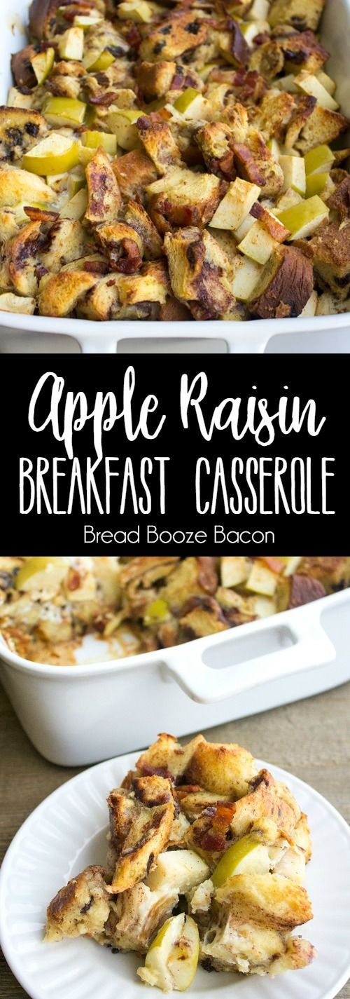 Apple Raisin Breakfast Casserole is full of delicious morning flavors that'll have everyone asking for seconds! via @breadboozebacon