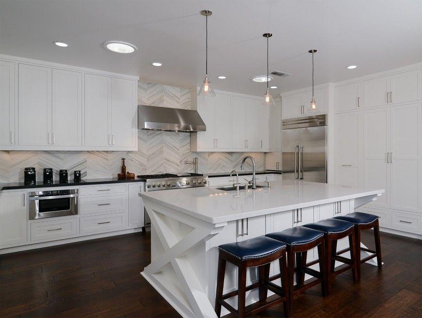 Kitchen with chevron backsplash x base island and