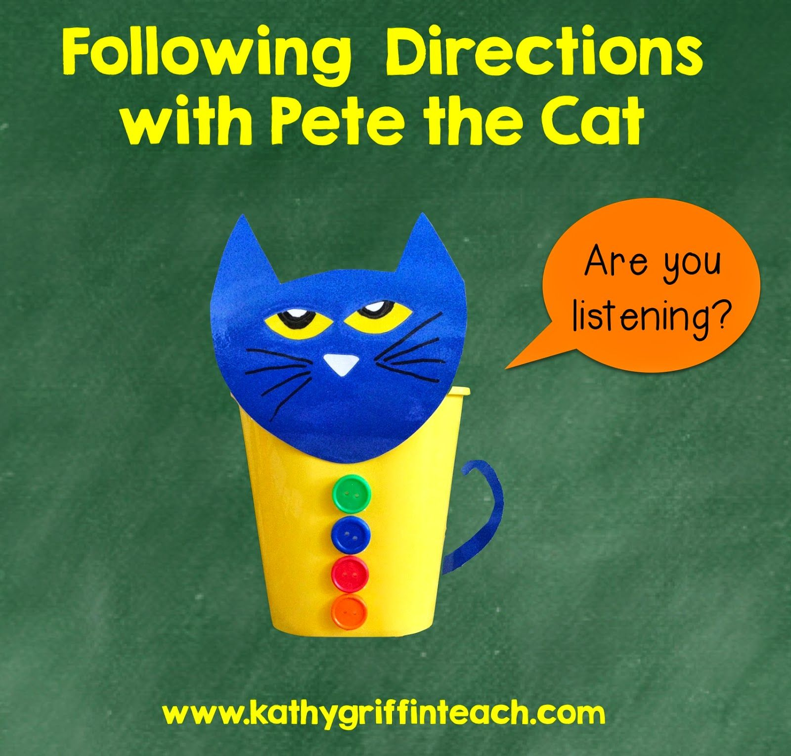 Following Directions Activities With Pete The Cat Kathy Griffin S Teaching Strategies