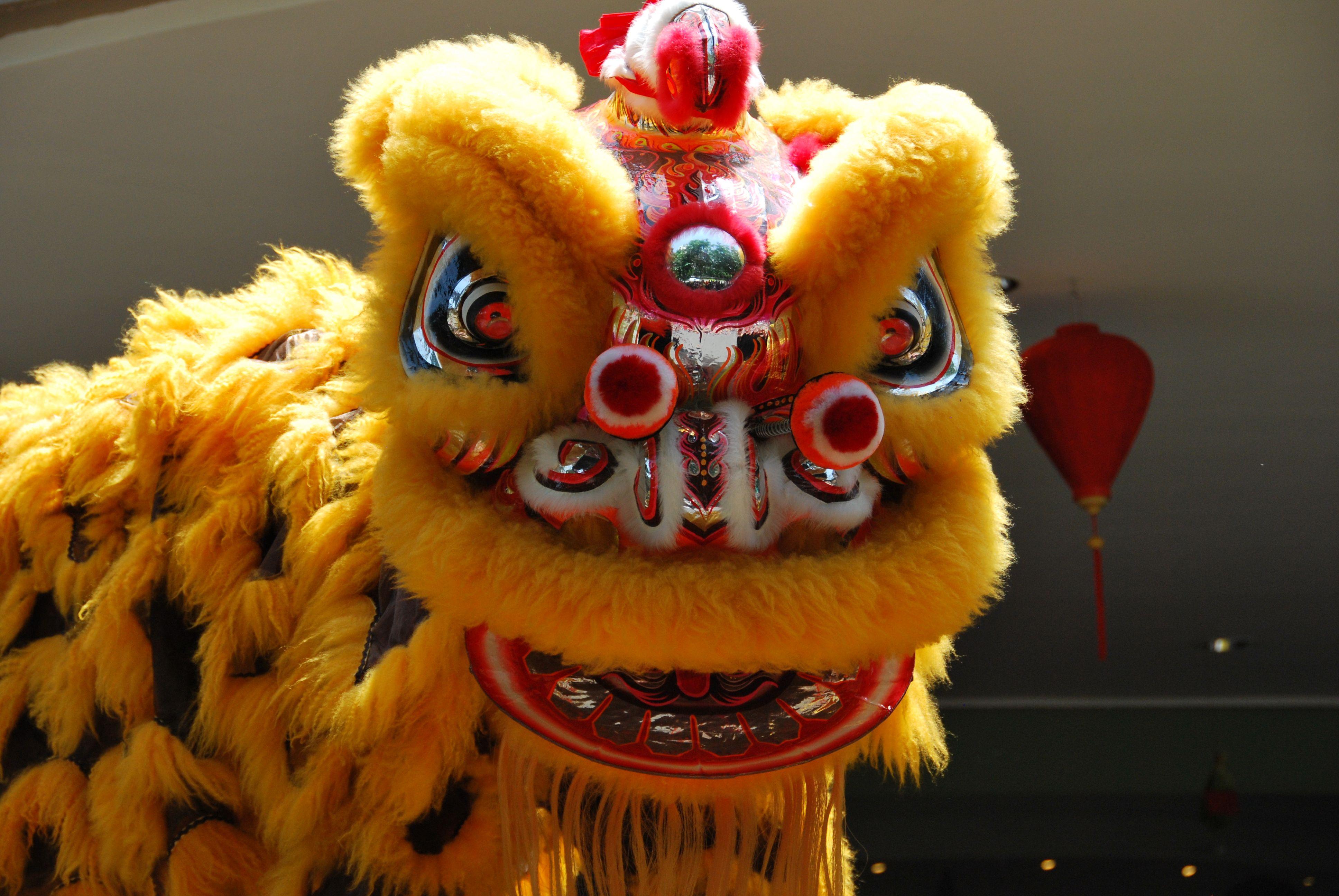 lion dance yellow