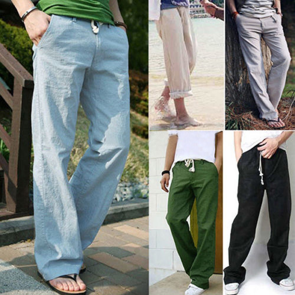 cf58a2fea5 Men s Boy Loose Long Wide Pants Thin Linen Summer Hip Hop Trousers Casual  Sports