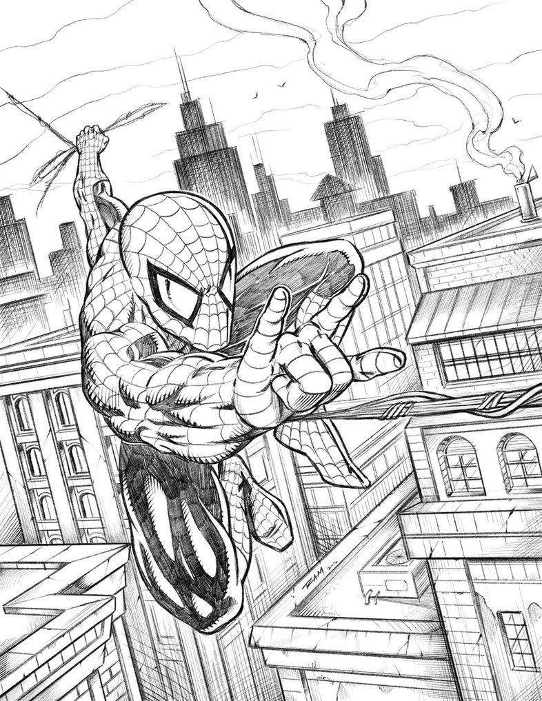 Spiderman Swinging Over The City By Robertmarzullo Deviantart Com