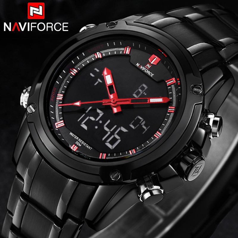 1571ab6075a Watches men NAVIFORCE brand Sports Full Steel Digital LED men s watch reloj  hombre Army Military wristwatch