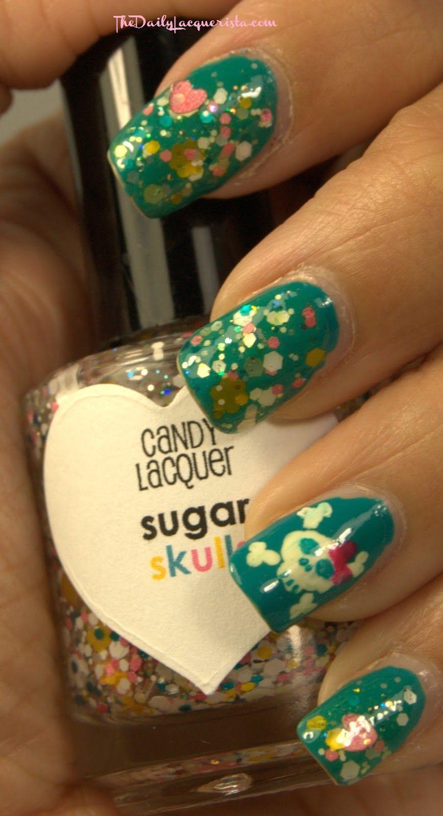 Candy Lacquer Sugar Skulls over Butter London Slapper
