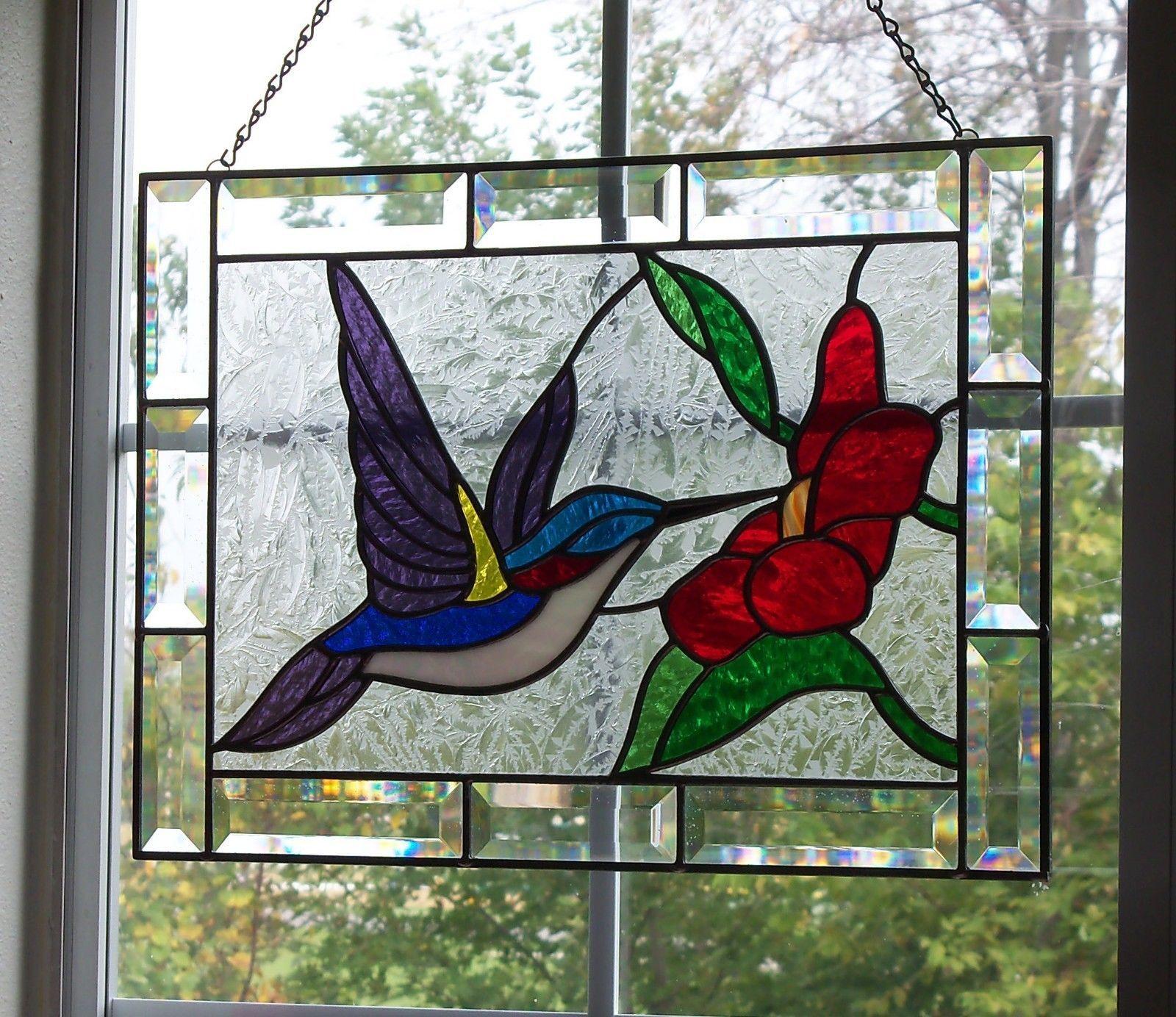 Hummingbird Stained Glass Window Panel