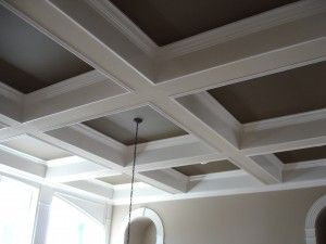 Coffered Ceiling Installed With 1 X 12 Bo 4 Crown Moulding And Painted