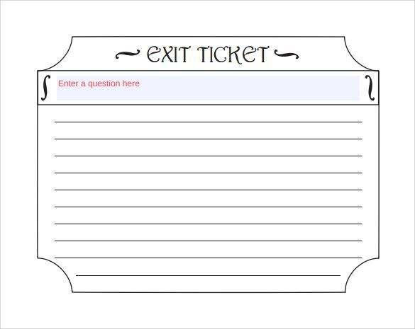 exit ticket template to print hs lamguage arts Ticket template