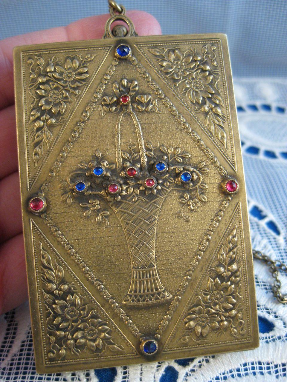 Flower Basket Jeweled Bronze Compact Cosmetic Wristlet